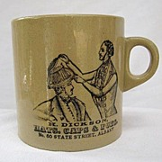 SALE Early 1900s Stoneware Occupational Shaving Mug H. Dickson Hats Haberdashery