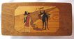 Vintage Mexican Wooden Inlay Stamps Box w/ Burro & Serape