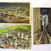 SALE 3 1940s Linen Kansas City Postcards Petticoat Lane Union Station