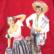 SALE Vintage Hand-Painted Mexican Man / Woman Statues