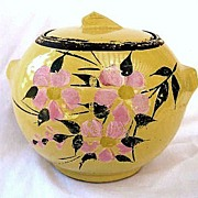 McCoy Yellow Cold Paint Floral Biscuit Jar Cookie Jar