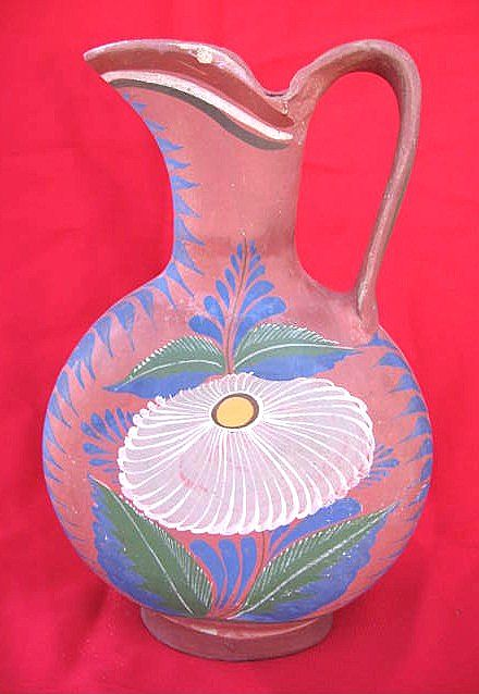 Floral Design Opaque Mexican Pitcher from Tonala circa 1940