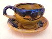 Vintage Oaxaca Mexico Yellow Dripware Pottery Tea Cup & Saucer