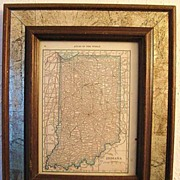 Framed 1917 Atlas of the World Map of Indiana