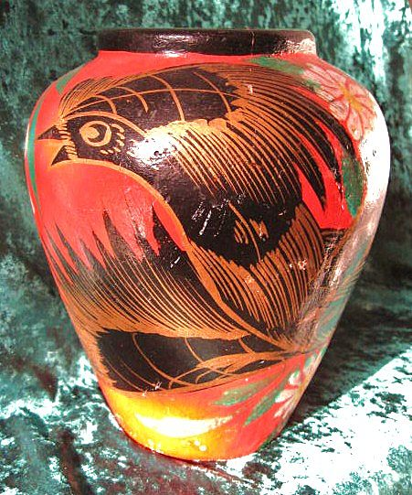 Tonala Mexico Burnished Fantasia Vase Feathered Bird Design circa 1940