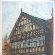 SALE William Monk Colored Etching of The Bear and Billet Inn Chester England 1892