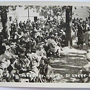 SALE 1930s RPPC Real Photo Postcard Thousands of Dr. Locke's Patients Waiting Daily