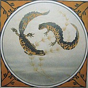 Arts & Crafts Circling Tiger Salamanders Nature Art Print Signed GH