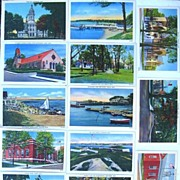 Lot of 13 New Bedford News Linen Postcards of Massachusetts Cities 1930s 1940s