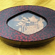 Vintage Oval Chinese Trinket Box with Shadow Box Cork Carving