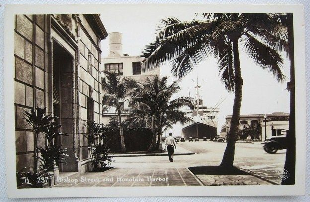 Real Photo Postcard Bishop Street & Honolulu Harbor c. 1940 Kodak Hawaii LTD