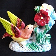 Colorful Vintage Ceramic Bird Figurine / Bud Vase / Planter