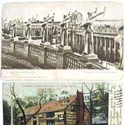2 St. Louis World's Fair 1904 Postcards Undivided Backs Louisiana Purchase Exposition