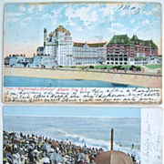 SALE 2 Undivided Back New Jersey Postcards Asbury Park 1905 Atlantic City Marlborough Blenheim