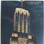 1940 Linen Postcard Chicago  Palmolive Building by Night
