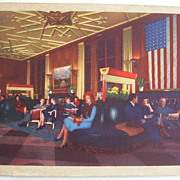 1945 Linen Postcard of Chicago Bismarck Hotel Lobby