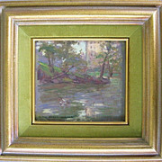 REDUCED Original Alice Beach Winter Impressionist Oil Painting of  Building Reflected in Water