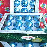 36 Vintage Blue Shiny Brite Christmas Tree Ornaments in Original Boxes