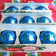 9 Large Vintage Blue Shiny Brite Christmas Tree Ornaments in Original Boxes