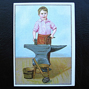 M.D. Wells Co. Junior Shoes Blacksmith Victorian Trade Card