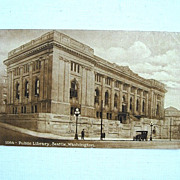 1913 Public Library Seattle Washington Postcard