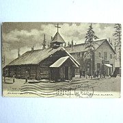 SALE 1910 St. Matthew's Episcopal Church and Hospital Postcard Fairbanks Alaska