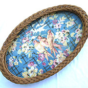Vintage Oval Wicker Serving Tray Cloth Bird Design Under Glass