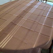 Vintage Chocolate Brown Linen Table Cloth