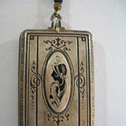 Art Deco 1920 Silver Toned Metal & Black Compact Make-up Cosmetic