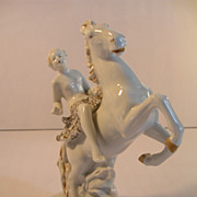 Art Deco German Girl Riding Horse Porcelain Figurine Dcor Collectible Equestrian