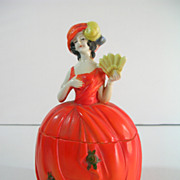 Deco German Powder Box Lady Porcelain Figure Orange Vanity Collectible