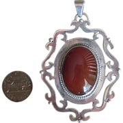 Huge Sterling and Carnelian Vintage Pendant