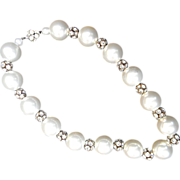 Glass Faux Pearl and Rondelle Vintage Necklace