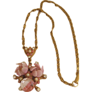 Unusual Pink Poured Glass Necklace