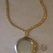 Huge Retro Locket Pendant Runway Necklace