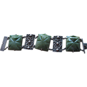 Huge Sterling and Mexican Jade Agate Old Bracelet
