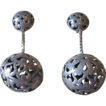 Huge Unusual Pierced Sterling Clip Earrings