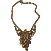 Huge Amber Color Rhinestone Runway Necklace