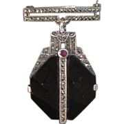 Sterling Marcasite Fob Brooch or Pendant