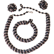 Magnificent  Vintage Rhinestone Twisted Set