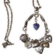 Monumental Sterling Puffy Heart Charm Vintage Necklace