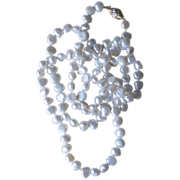 36 Inch Vintage Fresh Water Pearl and 14 Karat and Diamond Clasp