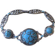 Sterling Vintage Bracelet with Turquoise Colored Cabochons