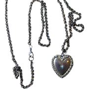 Victorian 36 inch Gold Filled Chain with Dated 1902 Heart Locket