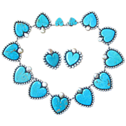 Huge Sterling Frederico Jimenez Monumental Heart Turquoise Necklace and Earrings