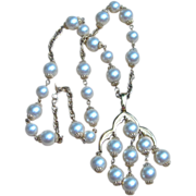 Trifari- Rare Waterfall Faux Pearl Signed Vintage Necklace