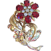 Amazing Gold Tone Wash Ruby Color Flower Brooch