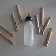 1950's - 1960's Baby Doll Nurser Bottle. Plus Wood Clothespins