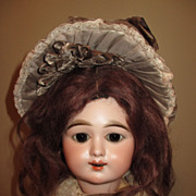 Brunette Mohair Wig And Pate For Bisque Doll 9&quot;- 10&quot;  Circumference