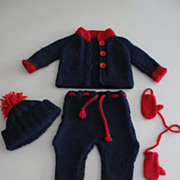 Knit Sweater, Pants, Hat, Mittens For Vintage, Bisque Or Other Doll